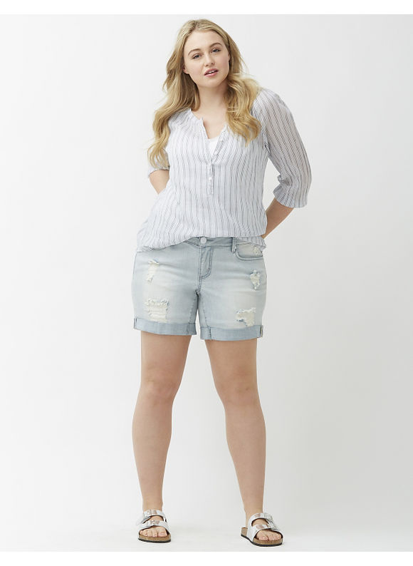 Lane Bryant Plus Size Distressed denim short by Seven7 Size 14,16, blue - Lane Bryant ~ Trendy Plus Size Clothes
