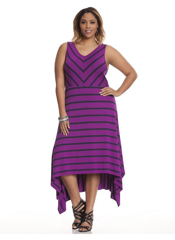 Plus Size Striped A-line maxi dress Lane Bryant grey