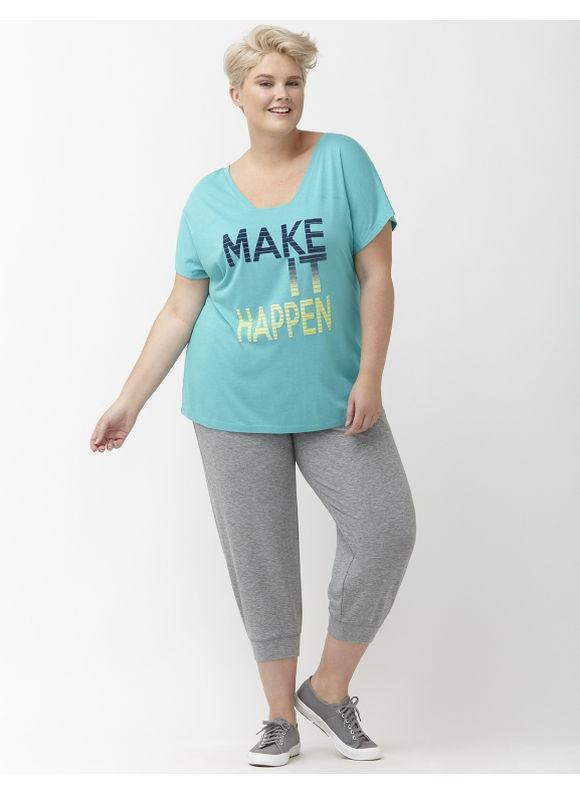 Lane Bryant Plus Size Fold-over waist relaxed capri Size 18/20, gray