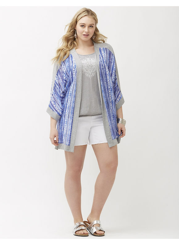 Lane Bryant Plus Size Knit trim kimono overpiece Size 14/16, blue - Lane Bryant ~ Trendy Plus Size Clothes