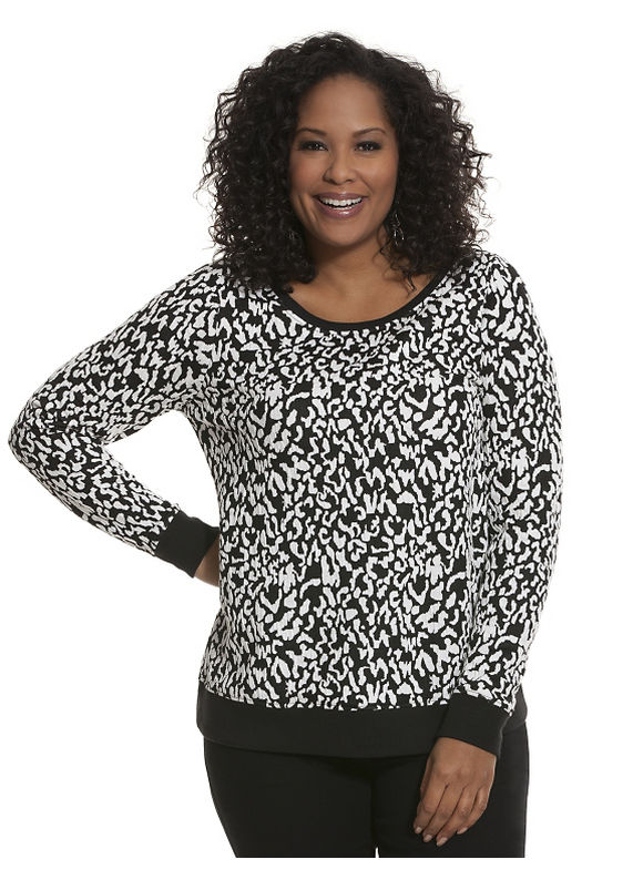 Lane Bryant Plus Size Animal jacquard sweatshirt Size 14/16,18/20,22/24,26/28, black - Lane Bryant ~ Trendy Plus Size Clothes