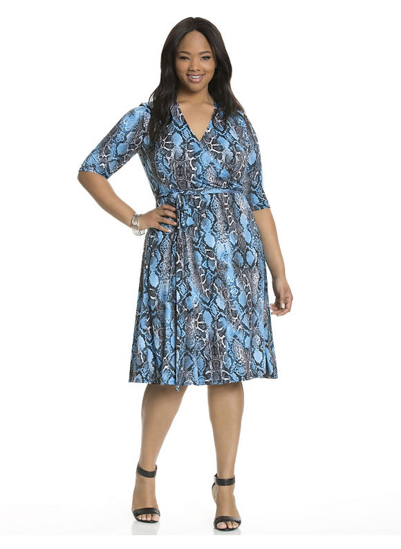 Plus Size Essential wrap dress by Kiyonna Lane Bryant Women's Size 2X, blue - Lane Bryant ~ Trendy Plus Size Clothes