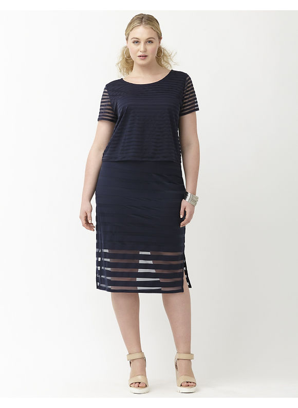 Lane Bryant Plus Size 6th & Lane cropped shadow stripe tee Size 28, blue - Lane Bryant ~ Trendy Plus Size Clothes