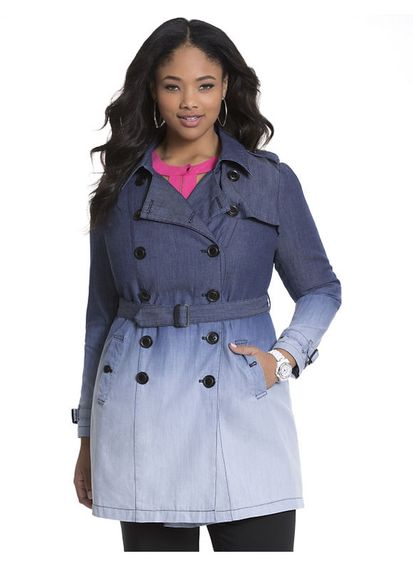 Lane Bryant Plus Size Dip dye denim trench coat by Modamix, blue