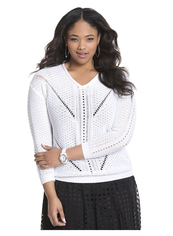 Lane Bryant Plus Size Pullover sweater by Modamix Size 1X, white - Lane Bryant ~ Trendy Plus Size Clothes