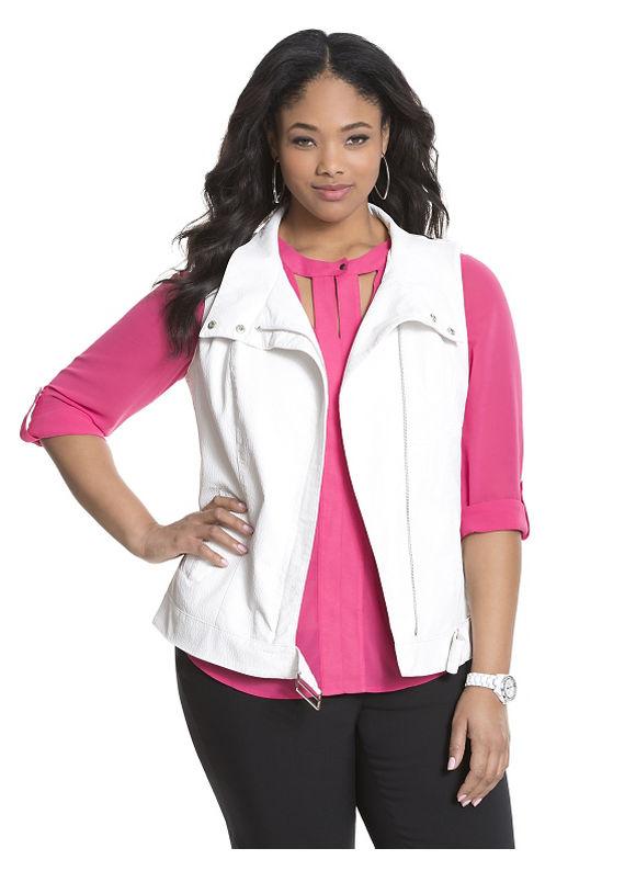 Lane Bryant Plus Size Vegan leather moto vest by Modamix Size 14W, white - Lane Bryant ~ Trendy Plus Size Clothes