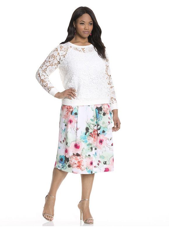 Lane Bryant Plus Size Floral circle skirt by Modamix Size 1X,2X, white