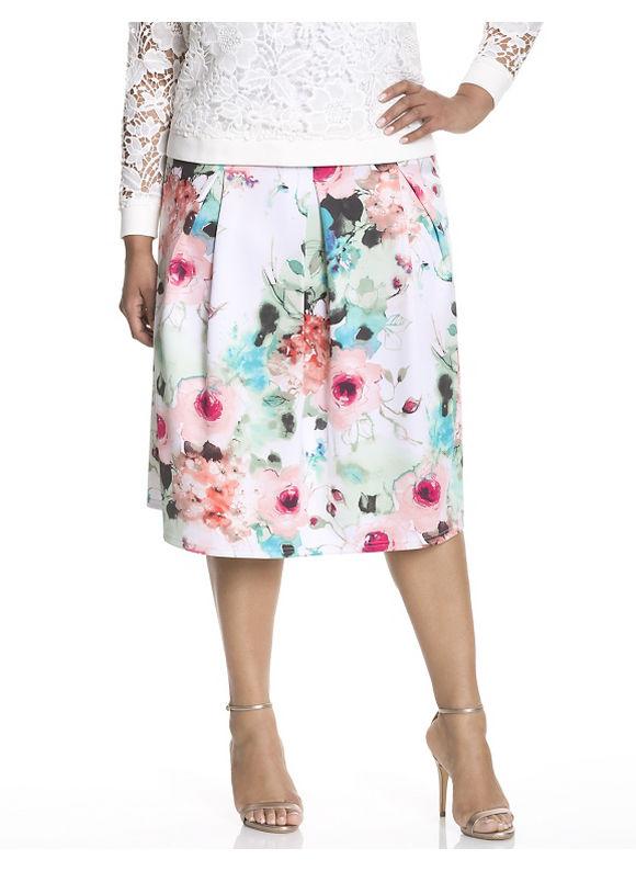 Lane Bryant Plus Size Floral circle skirt by Modamix Size 2X, white - Lane Bryant ~ Trendy Plus Size Clothes