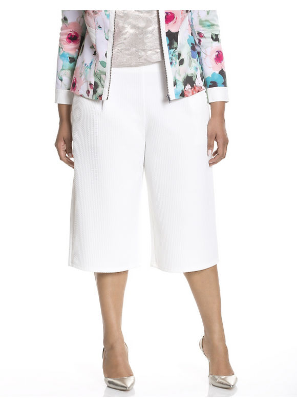 Lane Bryant Plus Size Textured gaucho by Modamix, white