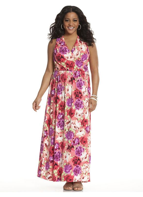 Plus Size Printed cross back maxi dress Lane Bryant floral print