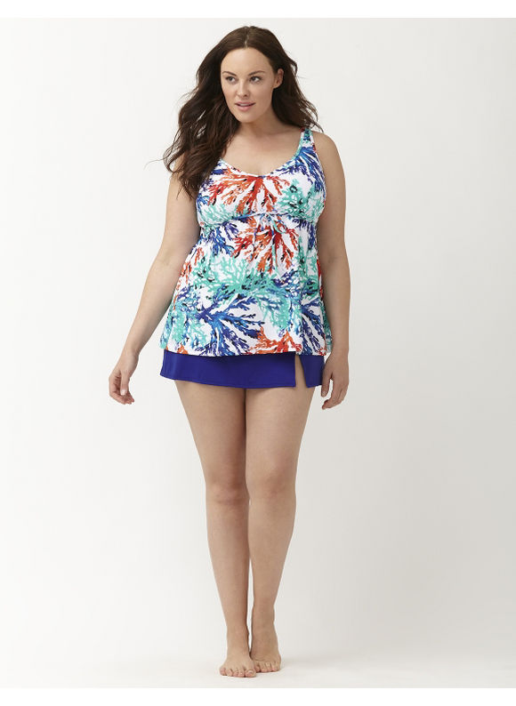 Lane Bryant Plus Size Coral Gardens swim tank with built in no wire bra Size 14, floral print - Lane Bryant ~ Trendy Plus Size Clothes