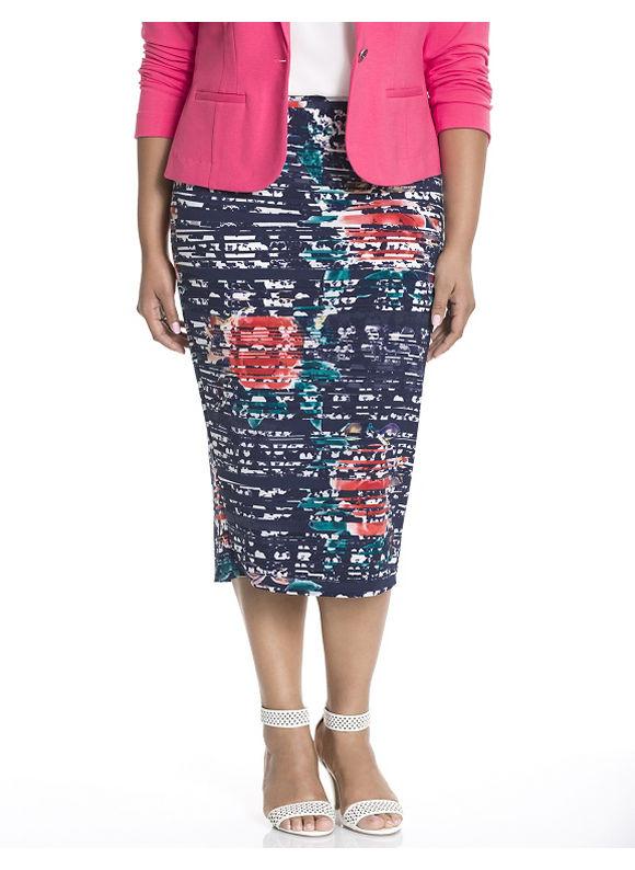 Lane Bryant Plus Size Floral midi skirt Size 14/16, blue