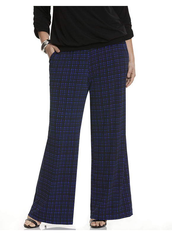 Lane Bryant Plus Size Simply Chic grid print wide leg pant Size 14/16,18/20, blue