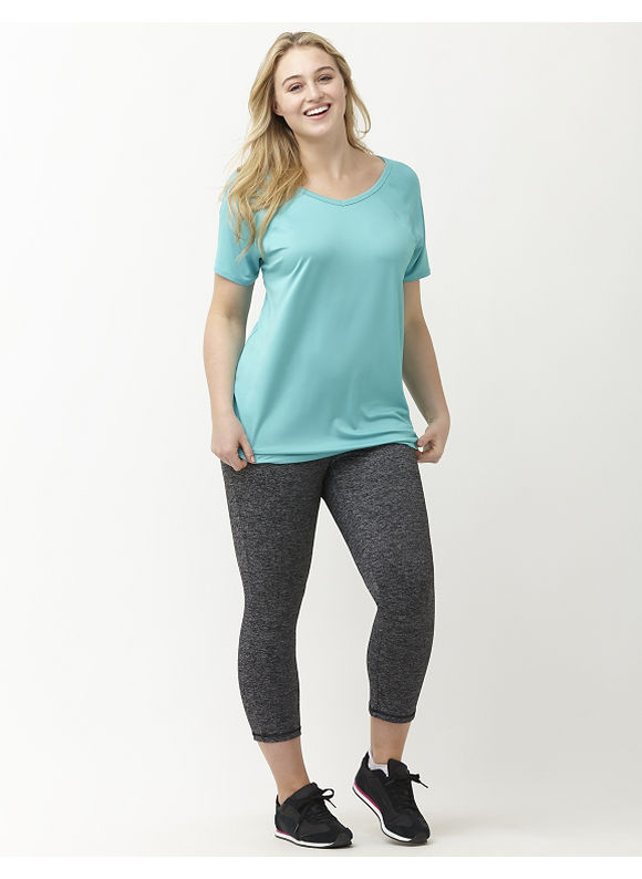 Lane Bryant Plus Size TruDry antimicrobial active tee Size 14/16, Cayman Turquoise