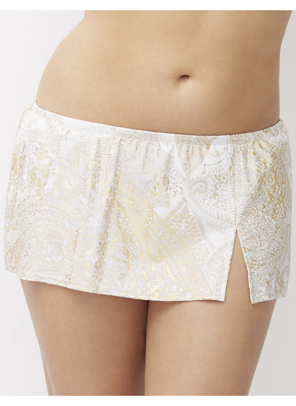 Lane Bryant Plus Size swim skirt Size 28, gold paisley