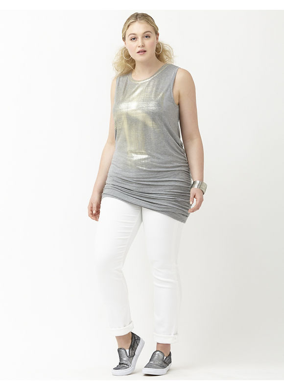 Lane Bryant Plus Size 6th & Lane foil graphic tank Size 22, gray