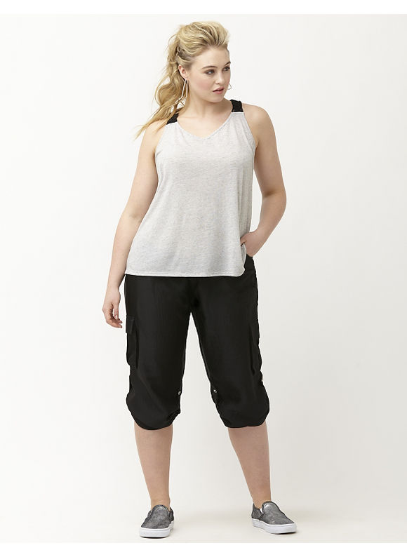 Lane Bryant Plus Size 6th & Lane fringe back tank Size 26, gray - Lane Bryant ~ Trendy Plus Size Clothes