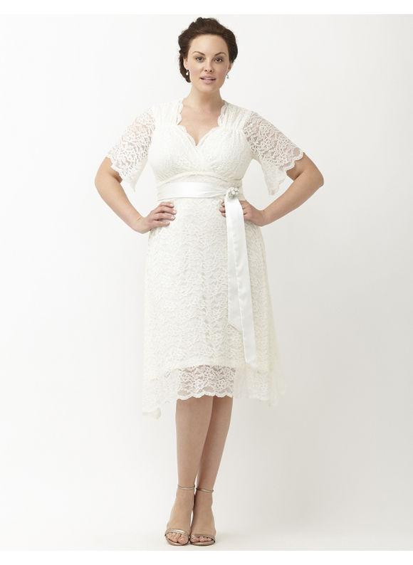 Kiyonna Plus Size Lace Confection wedding dress by, Women's, Size: XL, White