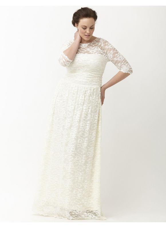 Plus size lace illusion wedding gown by kiyonna lane for Lane bryant wedding dress