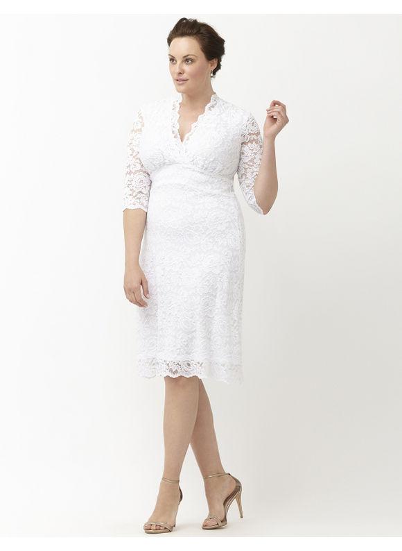 Kiyonna Plus Size Luxe lace wedding dress by, Women's, Size: XL, Soft Ivory