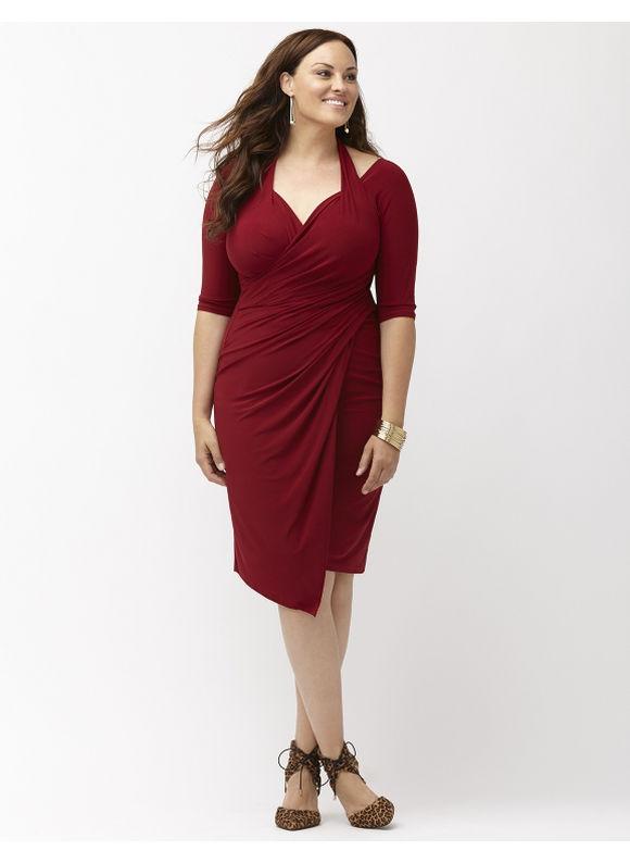 Plus Size Foxfire faux wrap dress by Kiyonna Lane Bryant Women's Size 0X, red - Lane Bryant ~ Trendy Plus Size Clothes