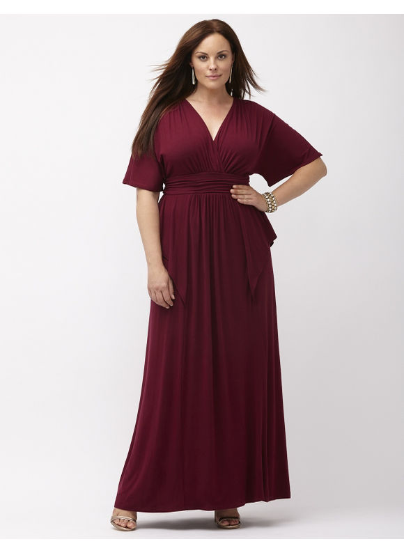 Plus Size Indie Flare maxi dress by Kiyonna Lane Bryant Women's Size 3X,1X,2X,4X,0X, Gardenia, Dark water, Burgundy - Lane Bryant ~ Trendy Plus Size Clothes
