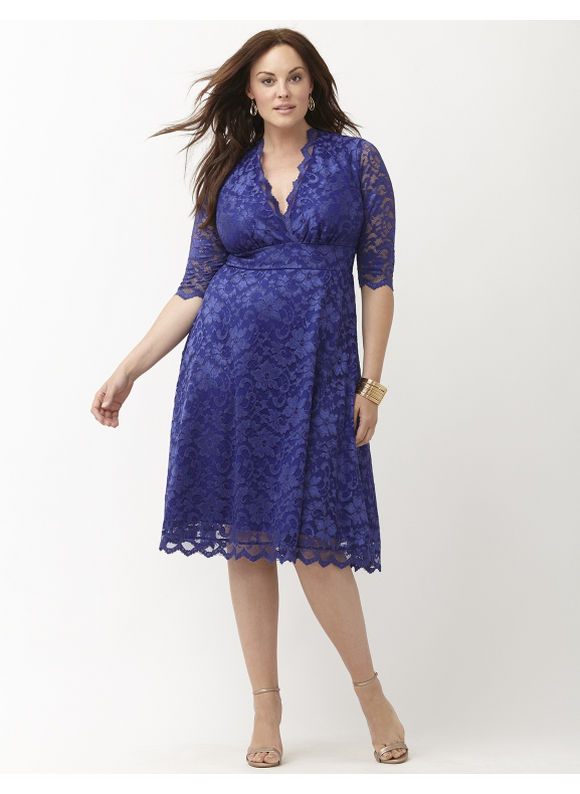 Plus Size Mademoiselle lace dress by Kiyonna Lane Bryant Women's Size 4X, blue