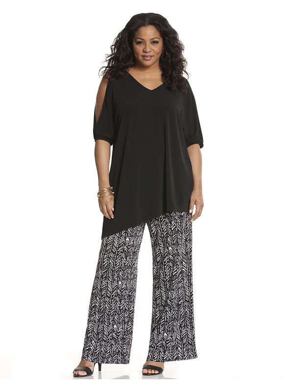 Lane Bryant Plus Size Simply Chic matte Jersey printed wide leg pant Size 14/16,18/20,22/24,26/28, black