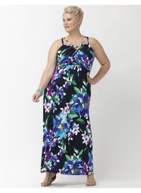 Plus Size Floral cut-out knit maxi dress Lane Bryant Women's Size 18/20, blue