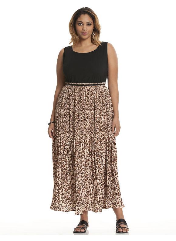 Plus Size Animal pleated maxi dress Lane Bryant Women's Size 14/16,18/20,22/24,26/28, gold