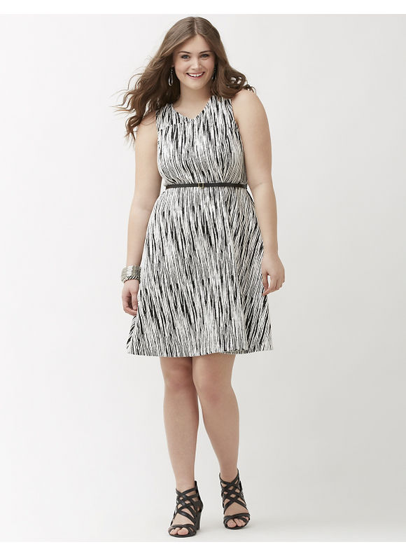 Plus Size Textured knit skater dress Lane Bryant Women's Size 14, white - Lane Bryant ~ Trendy Plus Size Clothes