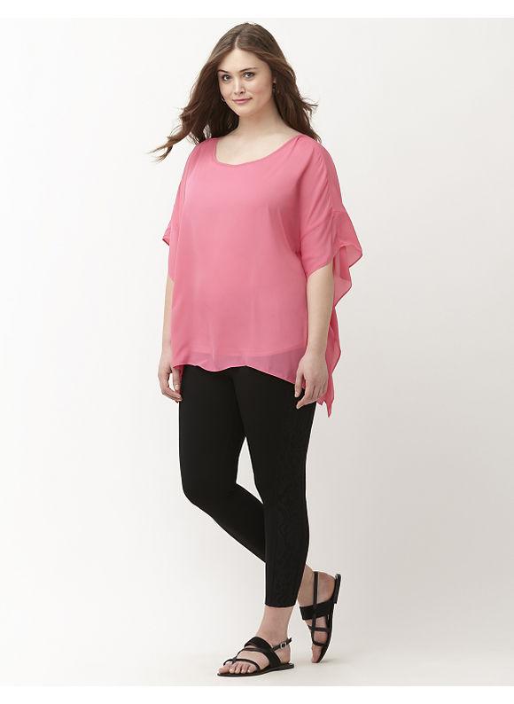 Lane Bryant Plus Size Lace cropped legging by Lysse Size XL,1X,2X,3X, black