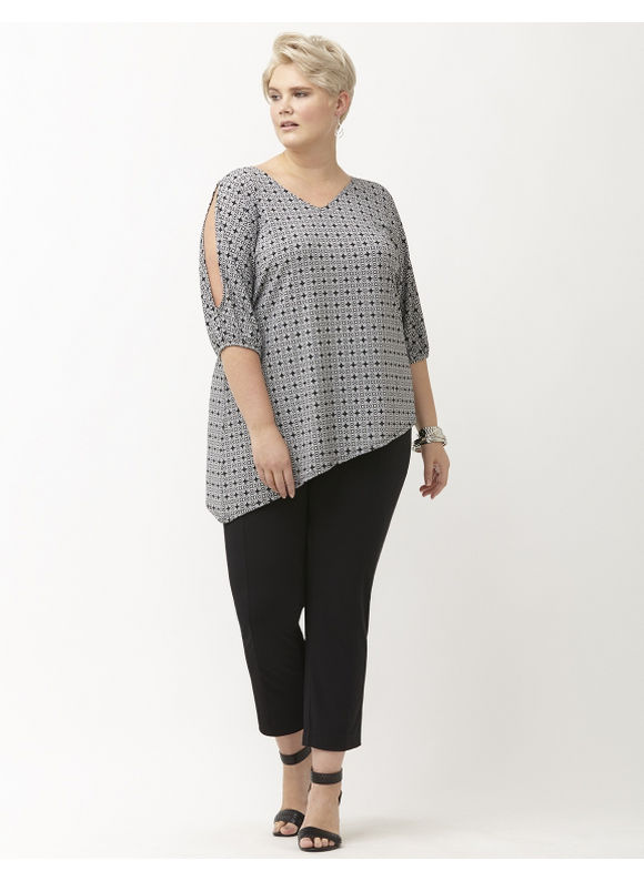Lane Bryant Plus Size Simply Chic printed matte Jersey cold shoulder top Size 22/24, black