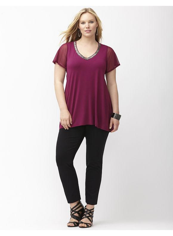 Lane Bryant Plus Size Embellished V-neck tunic Size 18/20, purple/black
