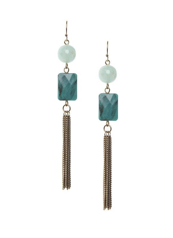 Lane Bryant Women's Turquoise tassel earrings