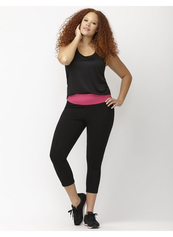 Lane Bryant Plus Size Signature Stretch colorblock capri legging Size 14/16, Passionfruit Pink