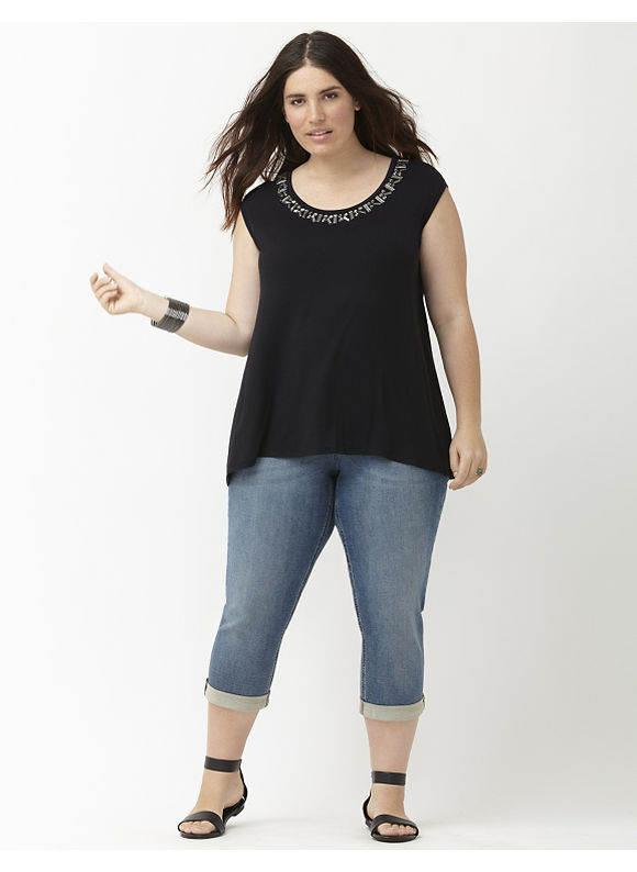 Lane Bryant Plus Size Embellished cap sleeve tee Size 22/24, black