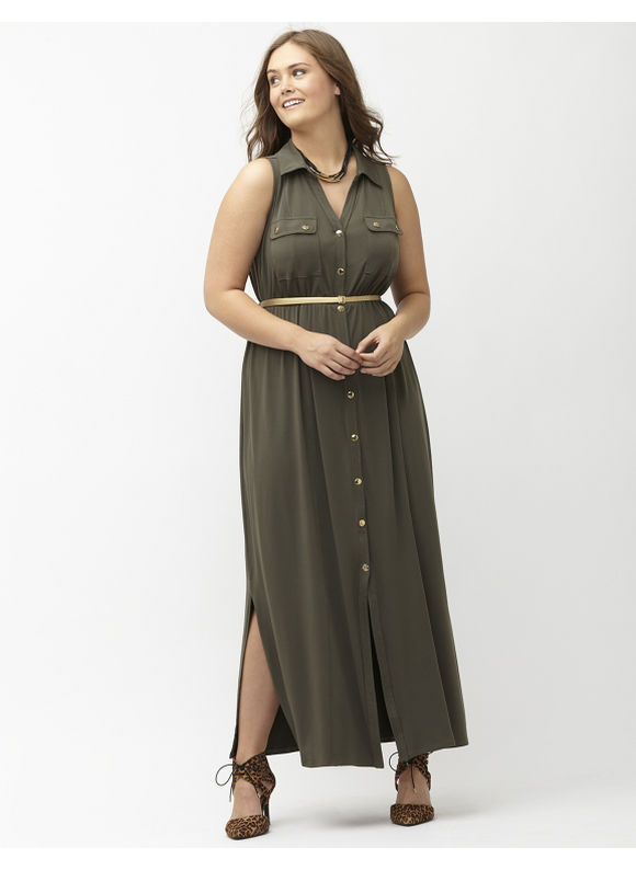 Plus Size Maxi shirt dress Lane Bryant Women's Size 26/28, Blackened Olive - Lane Bryant ~ Trendy Plus Size Clothes