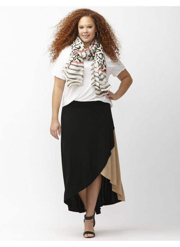 Lane Bryant Plus Size Asymmetric colorblock skirt Size 22/24, black - Lane Bryant ~ Trendy Plus Size Clothes