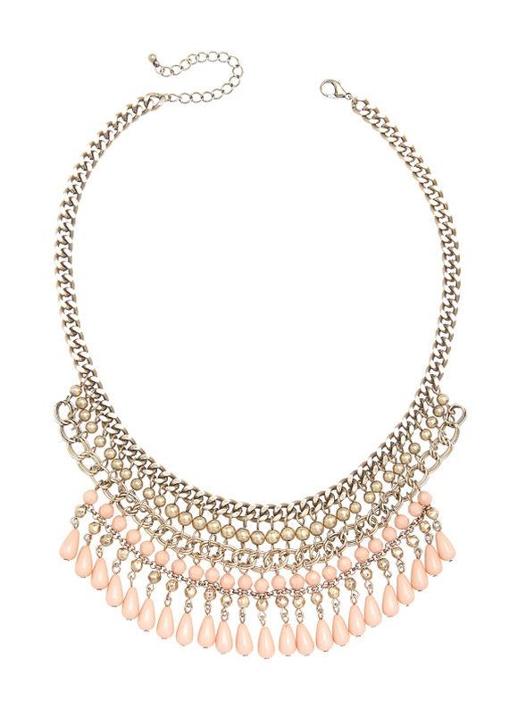Lane Bryant Women's Coral bead bib necklace