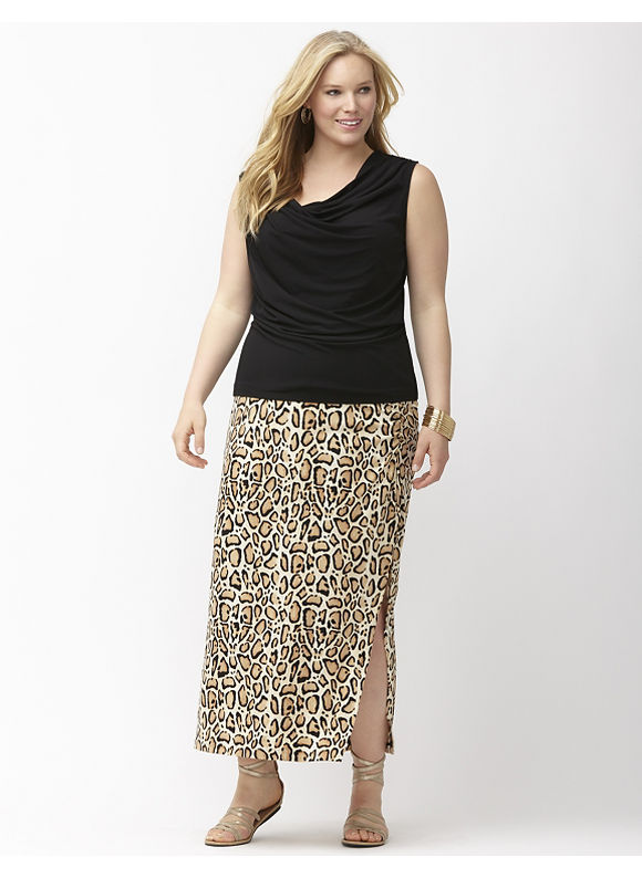 Lane Bryant Plus Size Simply Chic matte Jersey animal print maxi skirt, Off White