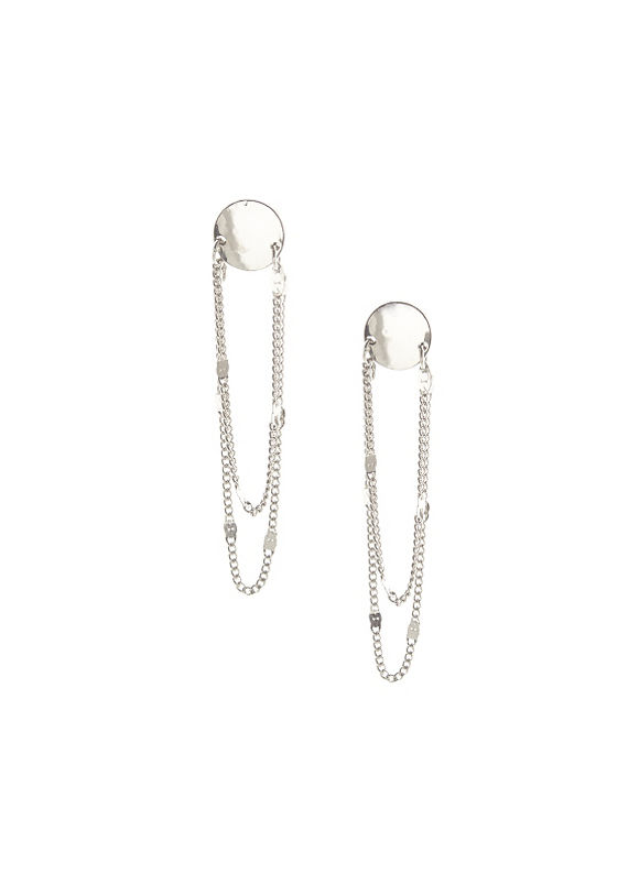 Lane Bryant Women's Button earrings with chain - Lane Bryant ~ Trendy Plus Size Clothes