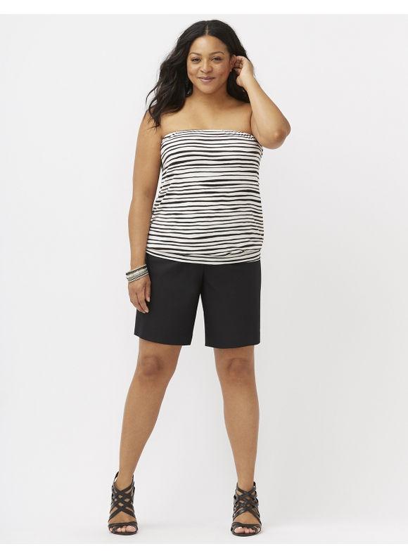 Lane Bryant Plus Size Wave stripe tube top Size 18/20, white