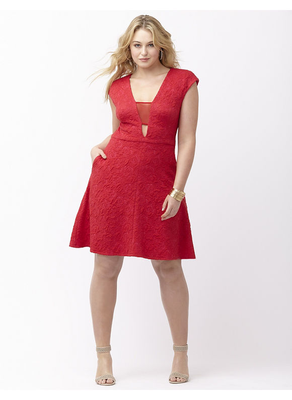 Plus Size Deep V jacquard dress by ABS by Allen Schwartz Lane Bryant Women's Size 2X, red