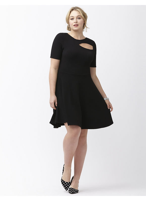 Plus Size Cut out fit & flare dress by ABS by Allen Schwartz Lane Bryant Women's Size 1X, black