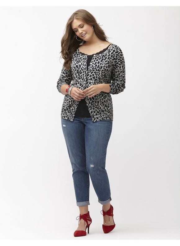 Lane Bryant Plus Size Animal print crew neck cardigan Size 14/16,18/20,22/24,26/28, gray - Lane Bryant ~ Trendy Plus Size Clothes