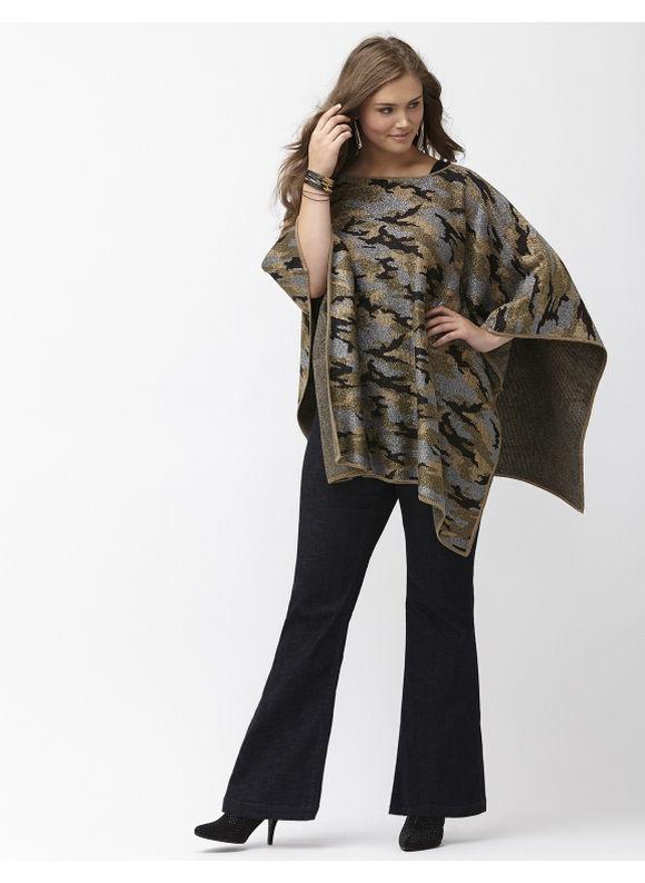 Plus Size Metallic camo poncho Lane Bryant Women's Size One Size, green