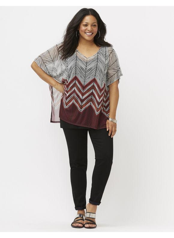 Lane Bryant Plus Size Chevron drama top Size 26/28, purple/black