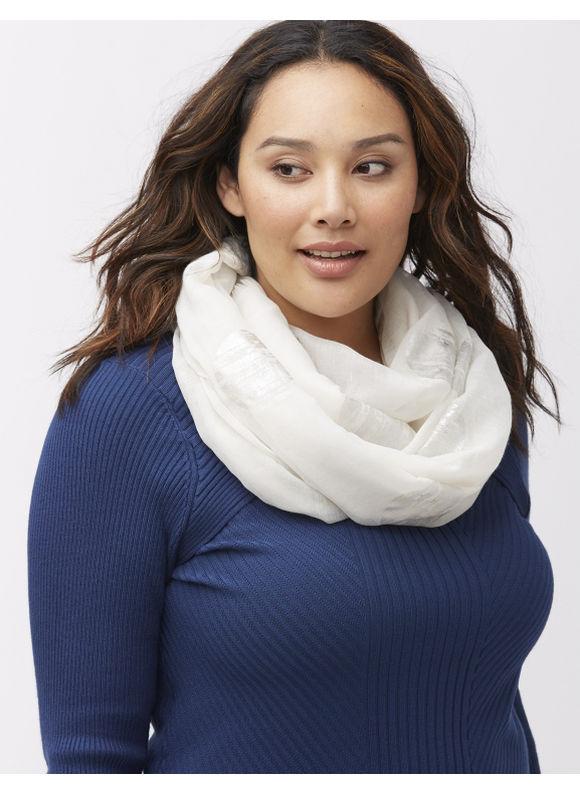 Lane Bryant Plus Size Distressed dot scarf Size One Size, white - Lane Bryant ~ Trendy Plus Size Clothes