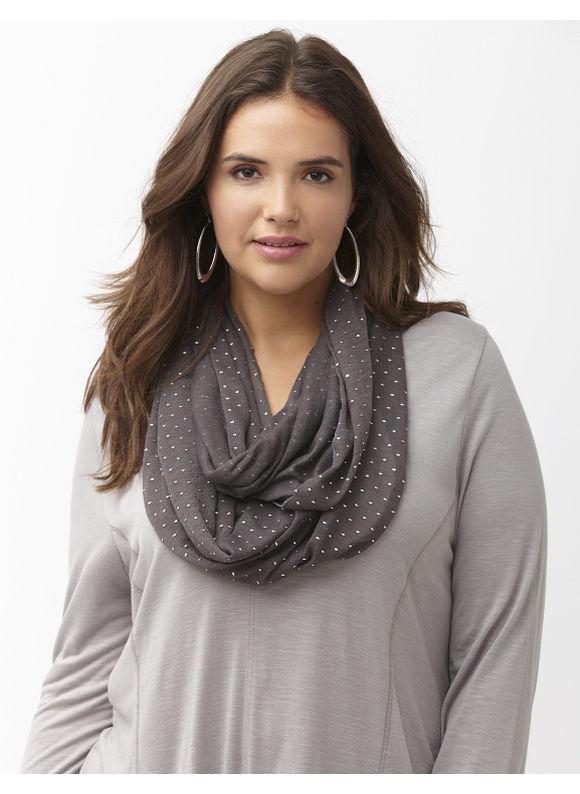 Lane Bryant Plus Size Metallic dot knit eternity scarf Size One Size, castle rock - Lane Bryant ~ Trendy Plus Size Clothes